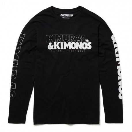 Tatami T-krekls ar garām rokām Kimuras & Kimonos melns