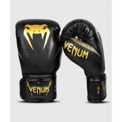 Venum Impact boksa cimdi melnā/zelta  krāsā